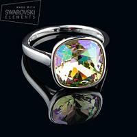 011-0003 - Кольцо с кристаллом Swarovski Cushion Square Crystal Aurore Boreale родий, 19 р.