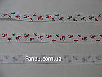 """Репсовая лента с рисунком """"сердечки"""",цвет бело-красный(ширина 2.5см)"""