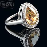 011-0007 - Перстень с каплевидным кристаллом Swarovski Drop Crystal Jonquil родий, 18 р