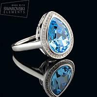 011-0008 - Перстень с каплевидным кристаллом Swarovski Drop Crystal Aquamarine родий, 19 р