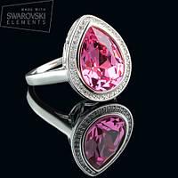 011-0009 - Перстень с каплевидным кристаллом Swarovski Drop Crystal Rose родий, 18.5 р