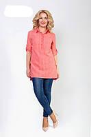 Молодежная женская блуза-туника кораллового цвета