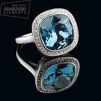 011-0013 - Элегантное кольцо с Swarovski Cushion Square Crystal Indicolite родий, 17, 17.5, 18, 19 р