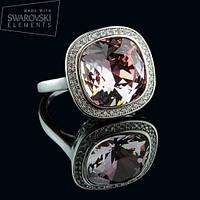 011-0014 - Элегантное кольцо с Swarovski Cushion Square Crystal Vintage Rose родий, 16.5, 19р