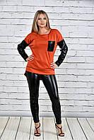 Женская туника на осень 0317 цвет оранжевый до 74 размера
