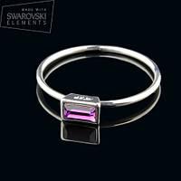 011-0018 - Изящное кольцо с кристаллом Swarovski Baguettes Crystal Amethyst родий, 17 р.