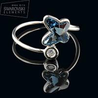 011-0019 - Нежное кольцо с кристаллом Swarovski Butterfly Crystal Dark Indigo родий, размеры в описании