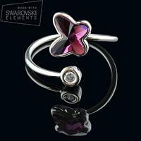 011-0020 - Нежное кольцо с кристаллом Swarovski Butterfly Crystal Amethyst родий, размеры в описании