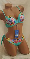Бирюзовый купальник с яркими цветами раз-р 40 42евро