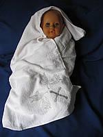 Махровое полотенце для крещения. Крижмо «Прекрасный ангелочек Серебро». Крещение ребенка, крыжма
