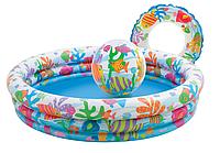 Детский Надувной Бассейн Intex 59469 с мячом и кругом 59460 138х28см.