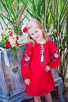 Детское вышитое платье из льна красное
