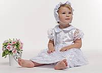 Крестильное платье для девочки с гипюром -белый,р 62,68,74