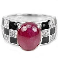 Кольцо с РУБИНОМ, ювелирной эмалью и куб. цирконием