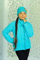 Демисезонная курточка Одри без капюшона в комплекте с шапкой цвета  бирюза