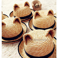 Шляпа соломенная с ушками