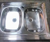 Кухонная мойка стальная 60х80 двойная