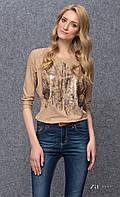 Женская блуза из вискозы с абстрактным принтом, рукав три четверти. Модель Kera Zaps.