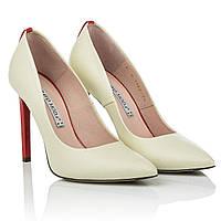 Кожаные туфли лодочки Bravo moda (роскошное сочетание бежевого цвета с красным каблуком, острый носок)