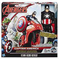 Набор 2в1 игрушка Капитан Америка  30СМ + мотоцикл -  Captain America, Titans, Avengers, Hasbro