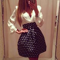 Женское платье мини юбка в белый горох