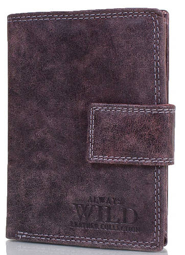Практичное мужское портмоне из натуральной кожи LWAYS WILD (ОЛВЕЙС ВАЙЛД) DNKD1072L-MCR-brown коричневый