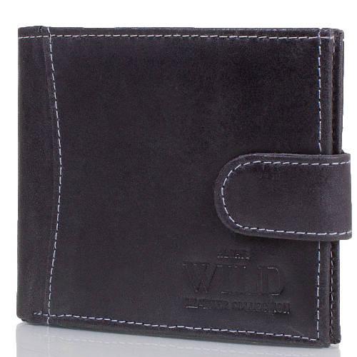 Оригинальное мужское портмоне из натуральной кожи ALWAYS WILD (ОЛВЕЙС ВАЙЛД) DNK53456L-SLK-black черный