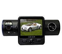 """Автомобильный видеорегистратор на 2 камеры Х 6000 GPS, экран 2"""", запись скорости, G-Sensor, вакуумная присоска"""