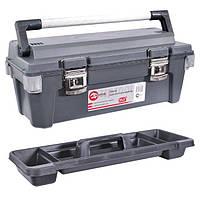 """Ящик для инструментов с металлическими замками и алюминиевой ручкой 25,5"""" 650x275x265 мм INTERTOOL BX-6025"""