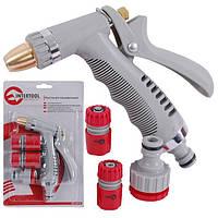 Пистолет-распылитель для полива с плавной регулировкой потока воды + адаптер и коннектор  INTERTOOL GE-0014