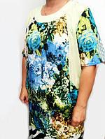 Летняя женская туника большого размера Букет цветов