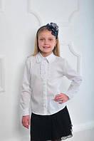 Нарядная белая блузка для девочки в школу на длинный рукав.