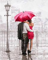"""Картина-раскраска Турбо """"Влюбленные под красным зонтом"""" (VP550) 40 х 50 см"""