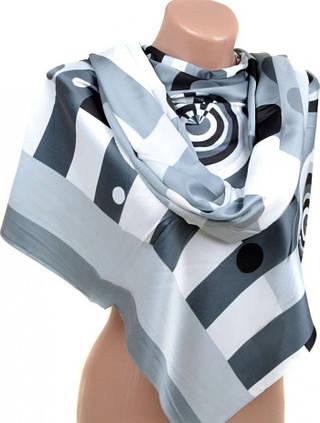 Шикарный шелковый шарф размером 60*172 см Подиум 10840-F1 (черно-белый)