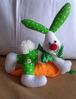 Кукла Зайчик с морковкой. Игрушка для ребенка от 1 года