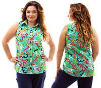 """Летняя женская блуза-рубашка без рукавов """"Alphabet"""" с оригинальным принтом (большие размеры)"""