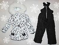 Детский Зимний комбинезон на девочку +куртка на 3-4 года натуральная опушка (писец-Белый альбинос)