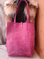 Сумка молодежная шоппер из натуральной розовой кожи