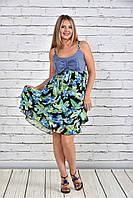 Женское платье на лето большие размеры 0320 цвет зеленые цветы до 74 размера