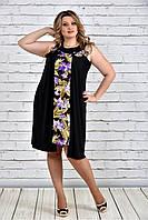 Женское платье-туника на лето большие размеры 0318 цвет золотые цветы до 74 размера