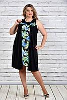 Женское платье-туника на лето большие размеры 0318 цвет зеленые цветы до 74 размера