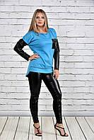 Женская туника на осень 0317 цвет голубой до 74 размера