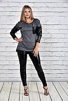 Женская туника на осень 0317 цвет серый до 74 размера