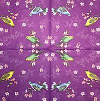 Салфетка декупажная Птицы на фиолетовом фоне 957