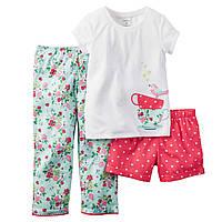 Пижама 3-ка Carters для девочки. Размер 7