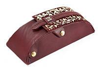 Футляр для очков сувенирный (натуральная кожа) с художественной росписью