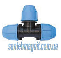 Тройник 40*40*40 для соединения полиэтиленовых труб. Наружный водопровод.