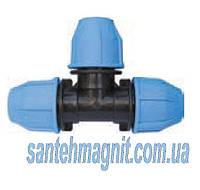 Тройник 63*63*63 для соединения полиэтиленовых труб. Наружный водопровод.