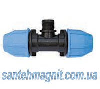 """Тройник 63*2"""" Н*63 для соединения полиэтиленовых труб. Наружный водопровод."""