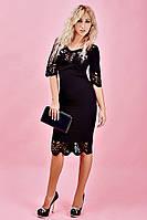 Черное приталенное женское платье черного цвета, фото 1
